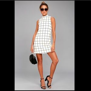 Lulus Chic By Design Cream Grid Print Dress